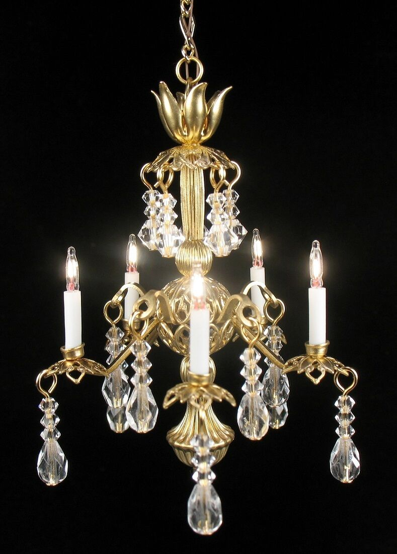 Dollhouse Miniature Lighting Electrical CHANDELIER  Amanda   Artist Handcrafted