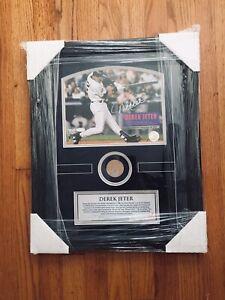 Derek Jeter Signed Autograph Baseball 8x10 Photo,Steiner COA,Game Used Bat Relic