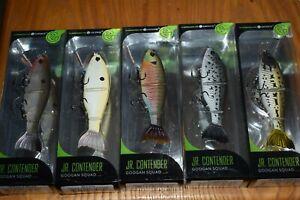 "Fishing Lure Lot of 5 Googan Squad Jr Contender Jointed Swimbaits 4-1/2"" 1oz NIB"