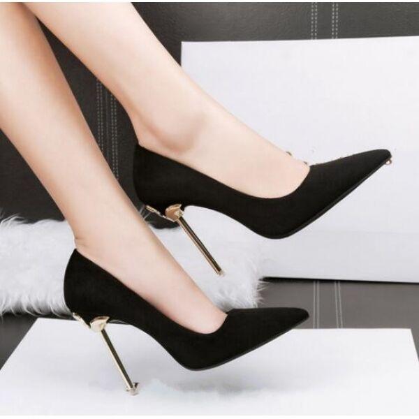 Zapatos de salón zapatos de mujer mujer mujer elegantes negro plata talón 10 tacón de aguja  60% de descuento