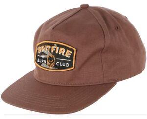 Spitfire-Wheels-BURN-CLUB-PATCH-UNSTRUCTURED-Strapback-Skateboard-Hat-BROWN