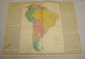 Map Of America 1820.1820 Map Of South America Hand Colored Ebay