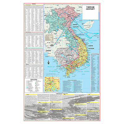 CoolOwlMaps Vietnam War Conflict Wall Map Poster Military History