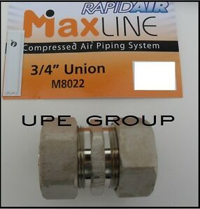 "Rapidair MAXLINE Compressed air piping tubing 3/4"" UNION FITTING   M8022"