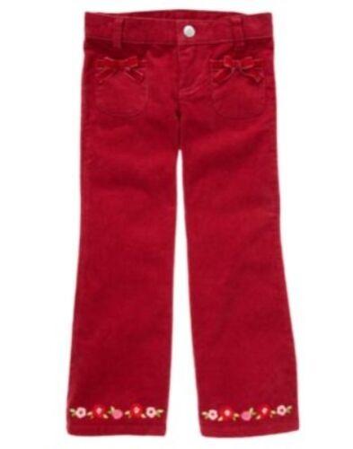 GYMBOREE COZY OWL RED FLOWER HEM CORDUROY PANTS 10 12 NWT