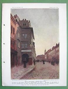PRAGUE-Rytirska-Street-House-at-Golden-Star-COLOR-Antique-Print