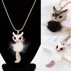 Cute Beautiful crystal Fashion Betsey Johnson Fox Pendant Sweater Chain Necklace