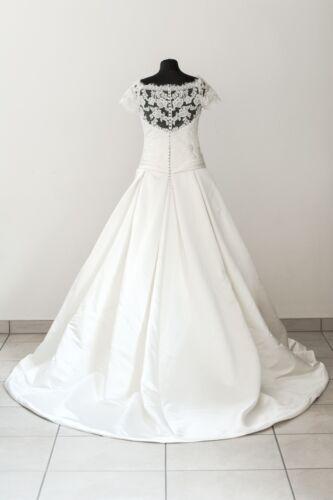 36 White One Brautkleid /'Julieta/' Satin Spitze A-Linie creme ivory Gr