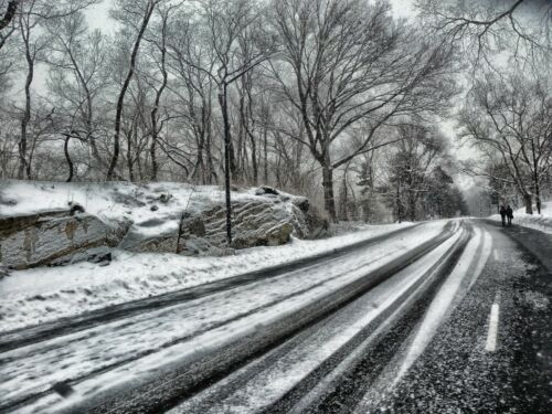 WINTER ROAD WOODLAND CANVAS PICTURE POSTER PRINT WALL ART UNFRAMED #1633