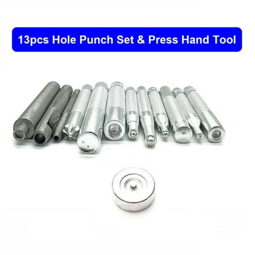 13pcs Hole Punch Set And Press Hand Tool for Jackets  Leather Crafts Repair Kits