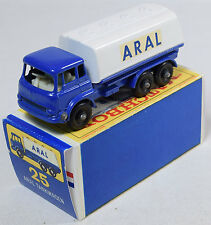 MATCHBOX #25 ARAL TANKER, BLUE/WHITE, ARAL NEAR MINT MODEL W/ REPRO BOX; SCARCE!