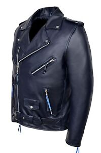 Jacken & Mäntel Hart Arbeitend Fashion Men's Brando Navy Blue Real Cowhide Leather Classic Biker Stylish Jacket ZuverläSsige Leistung Kleidung & Accessoires