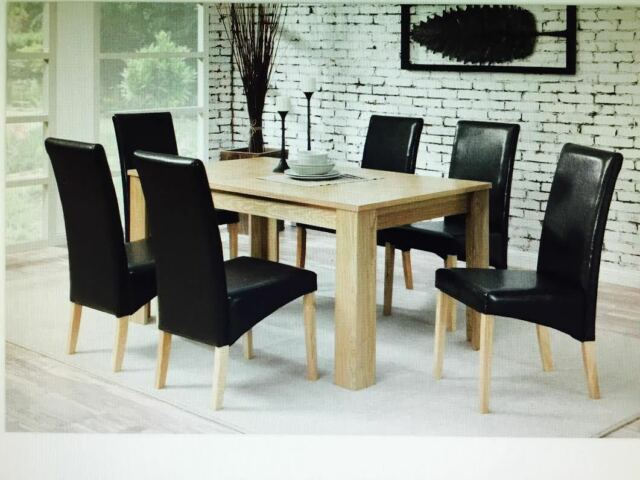Dining Table with 6 Dark chairs Faux Leather  Oak Furniture Dining Room Set