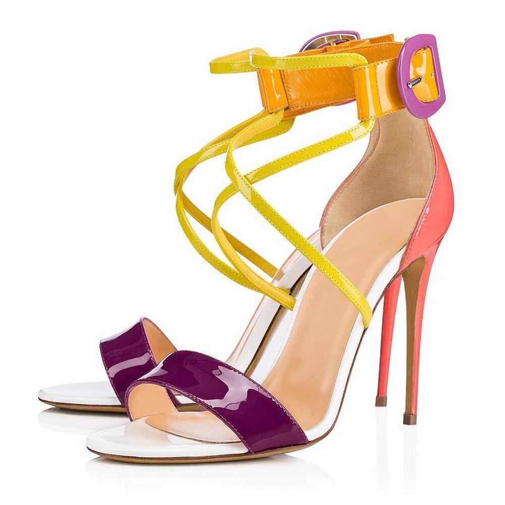 Sandalen Riemen Schnalle Schnalle Riemen Stiletto Pumps Lackleder Sexy Damenschuhe Bonbonsfarbe c9f700