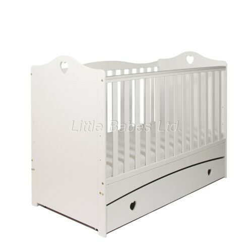 Optional Mattress 140x70x10 Solid Love Heart IMOGEN White Baby Cot Bed Drawer