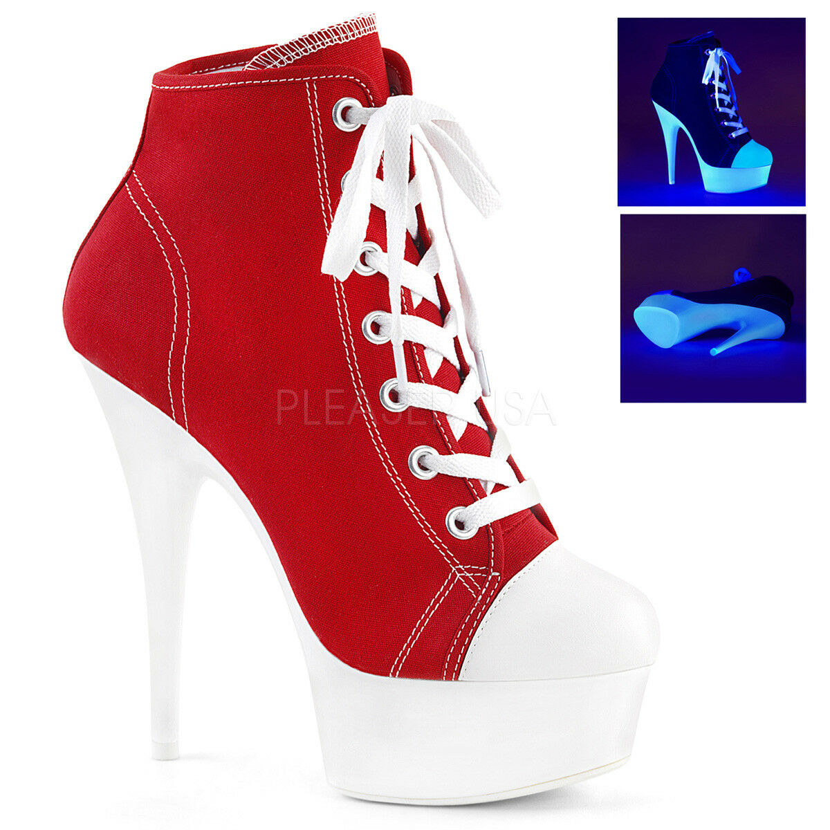 PLEASER Stiefel DELIGHT-600SK-02 ROT CANVAS LACE-UP PLATFORM SNEAKER Stiefel PLEASER 1f7ae9