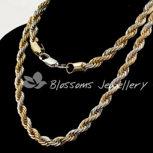 "9K Two Tone GOLD SILVER Layered 3D Rope Link CHAIN NECKLACE Mens WOMENS 24"" S33"