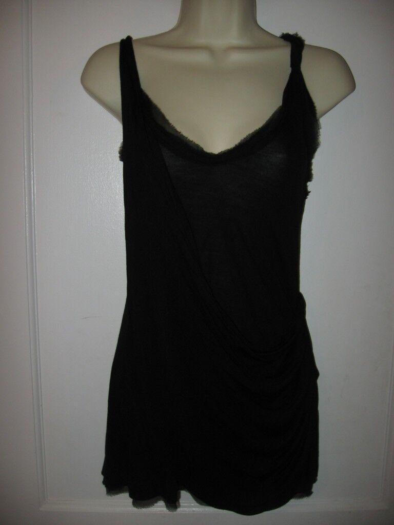 DVF Diane Von Furstenberg LIBERTIE Draped Jersey Tunic Top schwarz MEDIUM 6 8