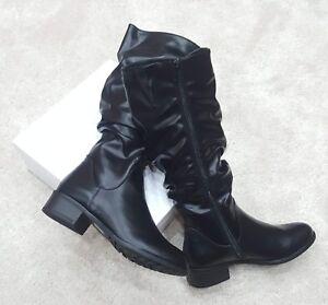 Mid Calf Ladies Flat Black Pu Leather