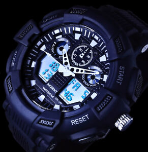 Akzent-Analog-Digital-Herren-Armband-Uhr-Blaue-Ziffern-Beleuchtung-Weiss-Schwarz