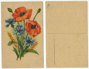 14751-Mohn-Kornblumen-und-Weizen-alte-Ansichtskarte
