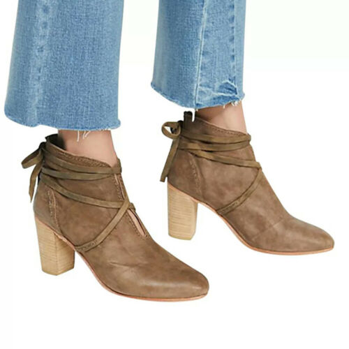 Women/'s Ankle Boots Block High Heel Lace Up Booties Ladies Casual Shoes Size 6-9