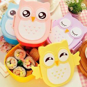 Cartoon-Owl-Lunch-Box-Food-Container-Storage-Box-Portable-Bento-Box-Spoon-AX