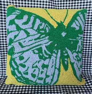 New-GRANDIN-ROAD-Butterfly-Wool-Blend-16-18-Needlepoint-Pillow-Cover-amp-Insert