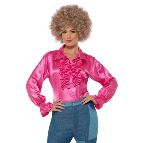 Camicia DONNA RASO CON ARRICCIATURA 1980 S Costume Accessorio Da Discoteca Maglietta S-L