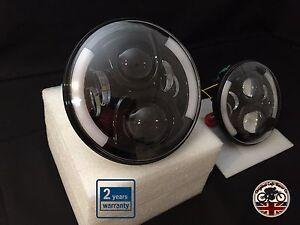 LAND-Rover-Defender-7-pollici-LED-FARI-COPPIA-50W-e-contrassegnati-UK-EU-Indicatore-di-Halo