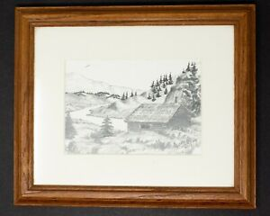 Log Cabin Mountains Landscape Pencil and Ink Drawing by Satterlee 1997 Framed