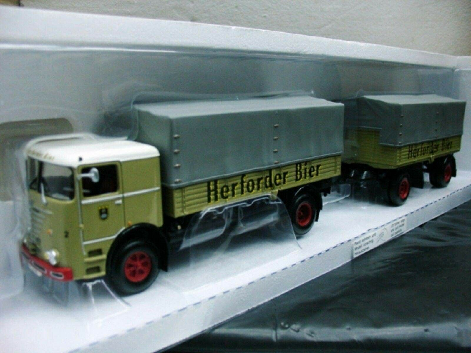 WOW EXTREMELY RARE Bussing Büssing LU11 16+Trailer Set Herforder 1 43 Minichamps