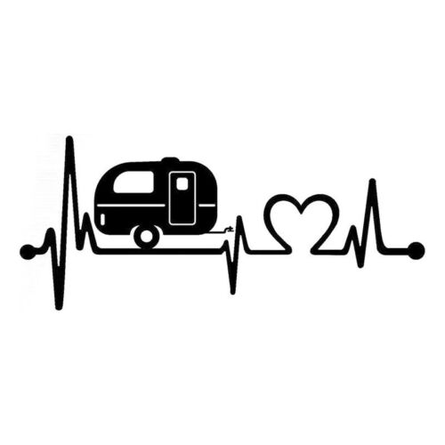 Camper Travel Hiker Camper Heartbeat Vinyl Car Sticker