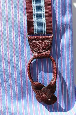 Brooks Bros XL Striped Barathea Braces - Pebble Grain Leather- England - $118.00
