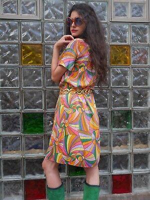 Abito Con Fiocco Fiocco 70er True Vintage Handmade Mini Psichedelica Dress-mostra Il Titolo Originale