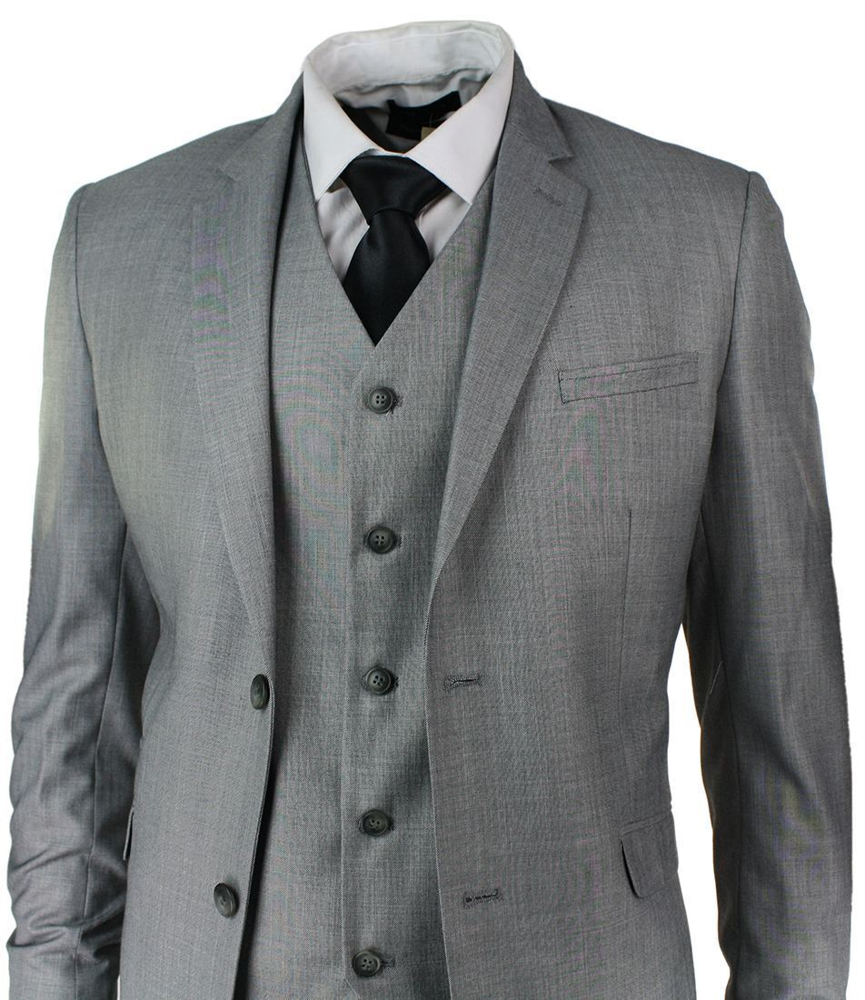 Herren Slim Fit Suit Light Grau Stitch Trim 3 Piece Work Office or Wedding Party