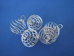 THREE-Silvertone-Spiral-Cages-25-29mm-Pendant-Healing-Crystal-B024-Charm
