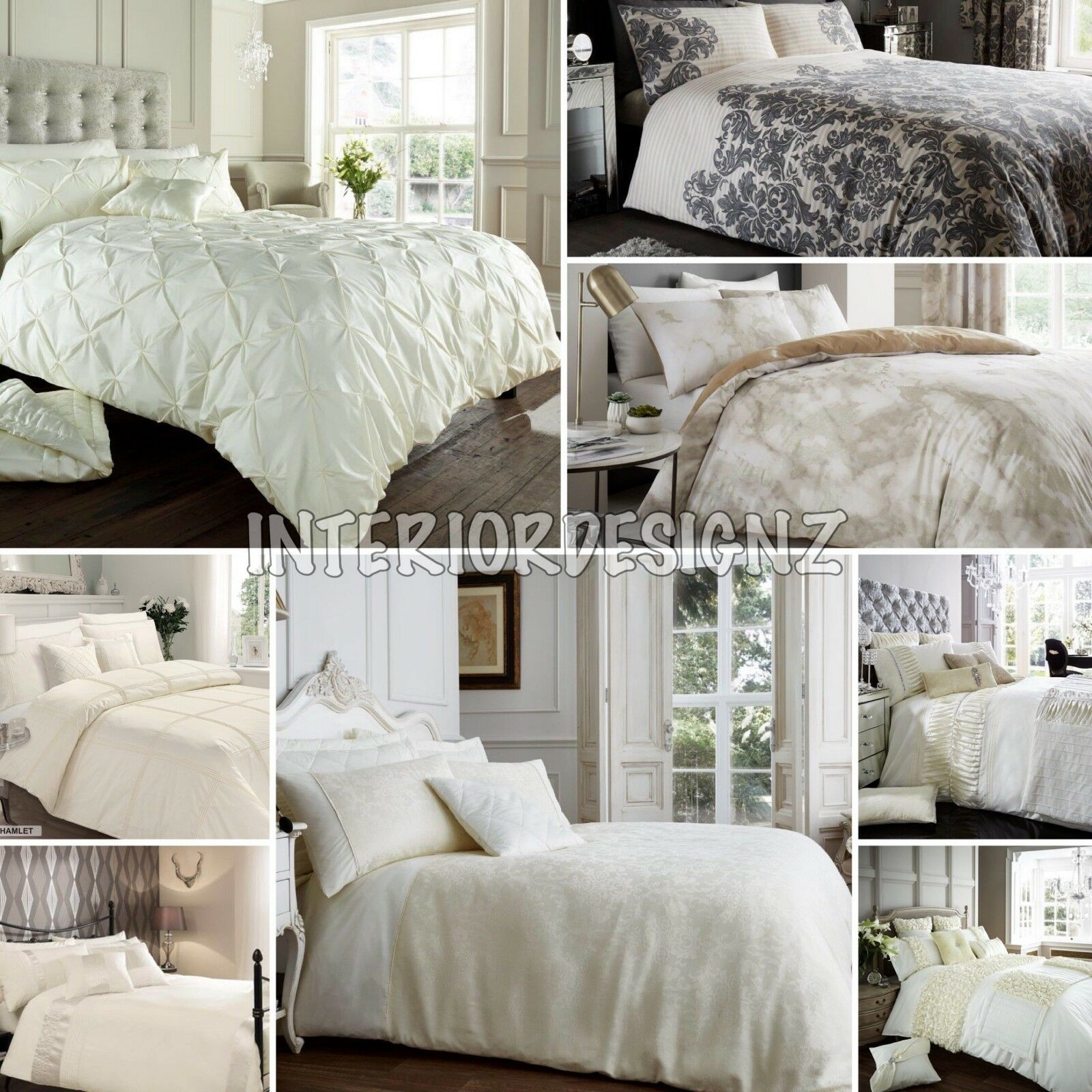 NEW Cream Collection Various Modern Luxury Designs Printed Bedding All Sizes