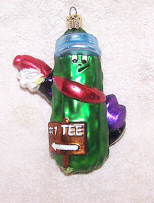 BLOWN GLASS PICKLE PEOPLE GOLFER HAND PAINTED CHRISTMAS ORNAMENT CHERRY DESIGNS