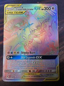 Moltres /& Zapdos /& Articuno GX 69//68 Rainbow Rare Card Pokemon Hidden Fates MINT