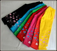 Girls Full Length Leggings Cotton Summer Active age 3 to 16 Years Printed Hearts