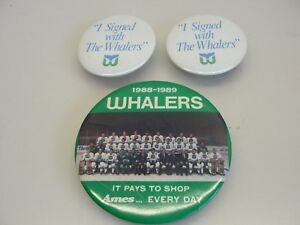 LOT-3-HARTFORD-WHALERS-HOCKEY-PINS-1988-1989-AMES-I-SIGNED-WITH-THE-WHALERS