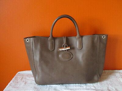 T. joli sac LONGCHAMP Héritage roseau en cuir taupe porté