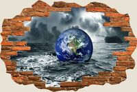 3D Hole in Wall Floating Earth View Wall Stickers Film Decal Wallpaper Mural 744