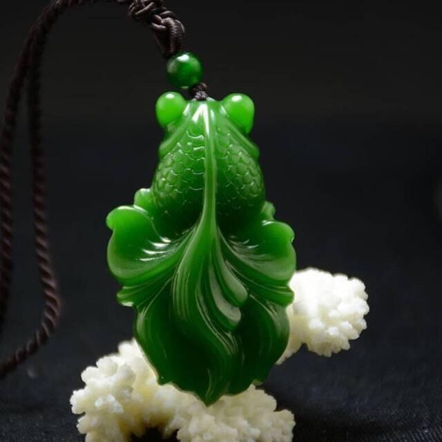 Chinese Exquisite Natural Jadeite Goldfish  Hand-carved Jadeite Jade Pendant