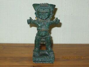 STATUETTE-n-2-AZTEQUE-MAYA-VINTAGE-annee-60-en-pierre-14-cm-MEXIQUE