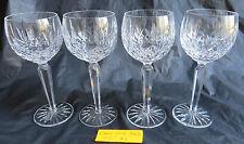 "4 Vintage Waterford Crystal Lismore Large Wine Hock Goblets 7 1/2""H 6 OZ"
