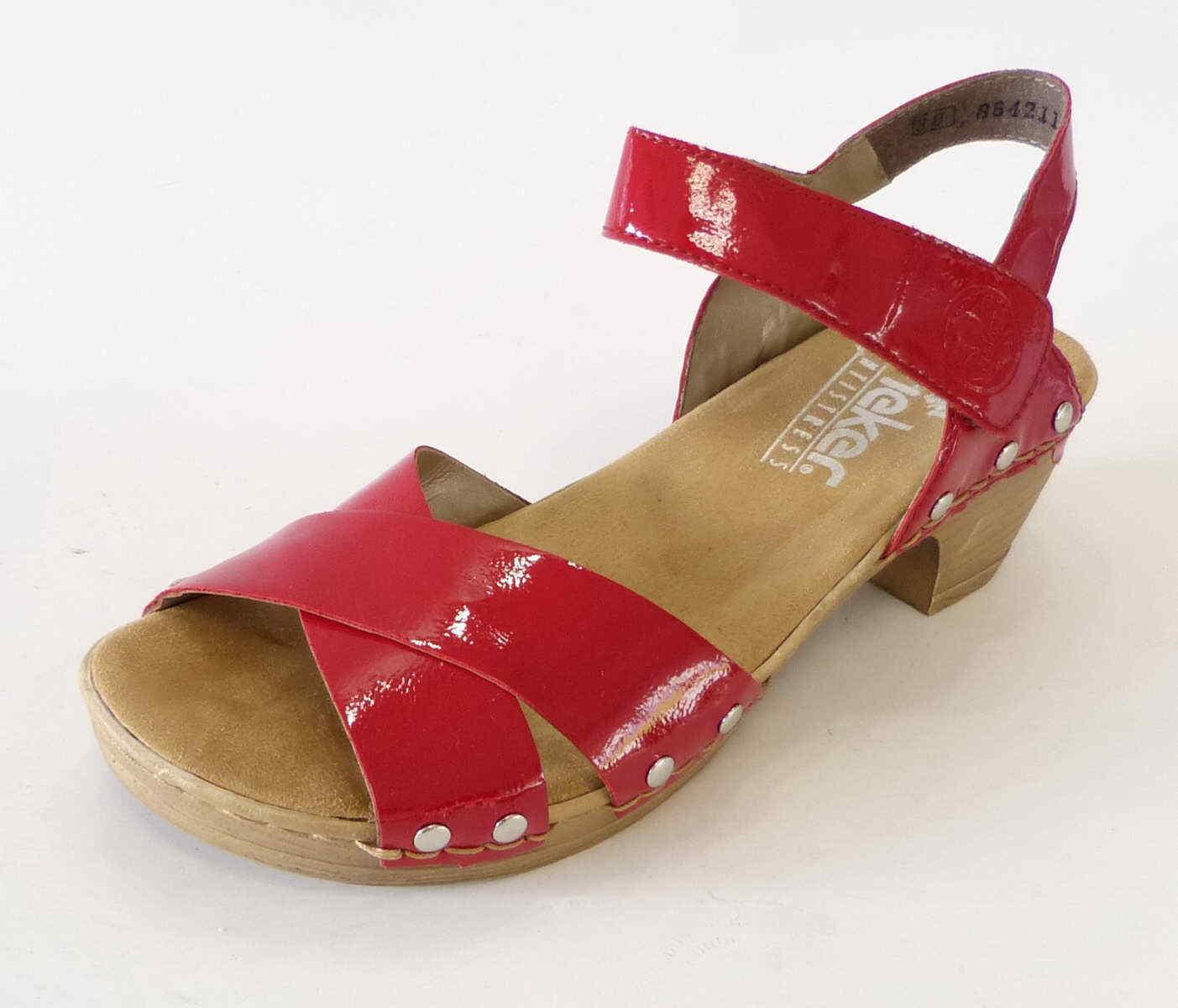 Rieker Sandale Grace rouge Soft Coussin antistress en finition bois 66866 33