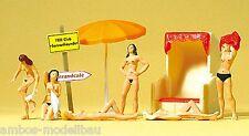 Preiser 10107 H0, Badende am FKK-Strand mit Strandkorb als Bausatz, 6 Figuren