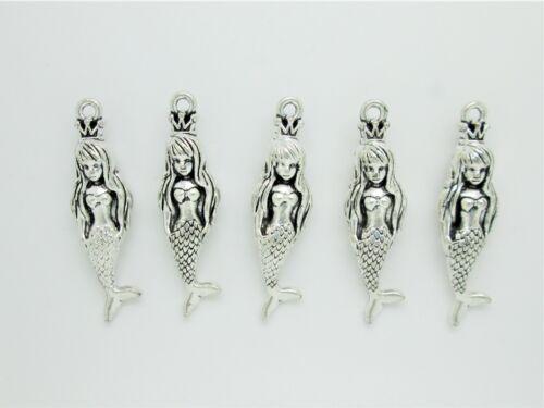 8 x MERMAID CHARMS 43mm LONG  3D TIBETAN ANTIQUE SILVER COLOUR NAUTICAL
